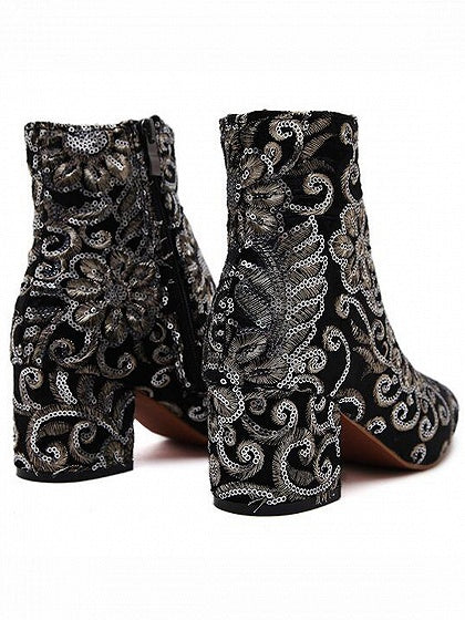 Black Embroidery Detail Heeled Ankle Boots