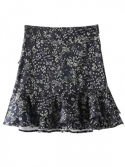 Navy Blue High Waist Floral Detail Layered Ruffle Hem Skirt