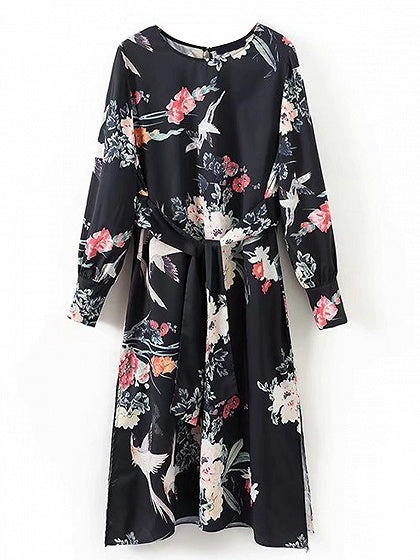 Black Tie Waist Floral Long Sleeve Midi Dress