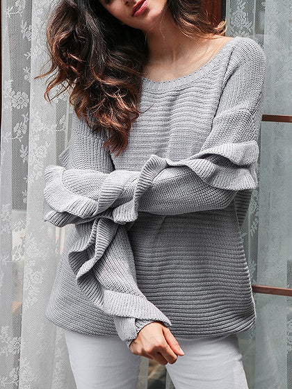 Gray Ruffle Detail Long Sleeve Knit Sweater