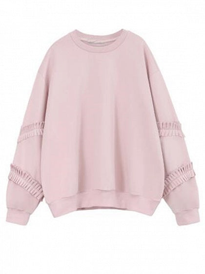 Pink Ruffle Detail Long Sleeve Sweatshirt