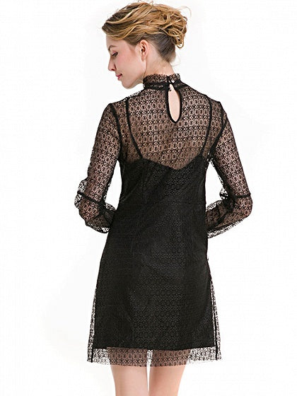 Black Stand Collar Long Sleeve Sheer Lace Mini Dress