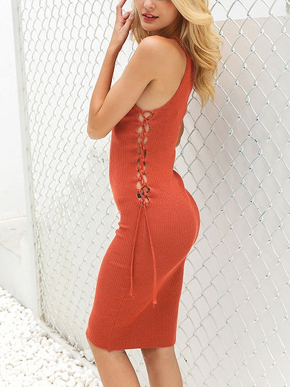 Orange Spaghetti Strap Lace Up Side Knit Bodycon Mini Dress