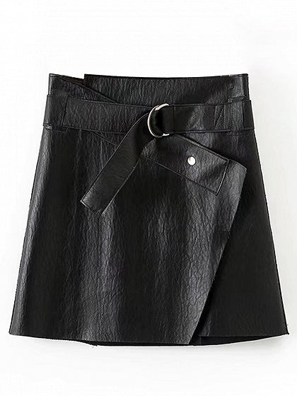 Black D-ring Belt Detail Leather Look Mini Skirt – MYNYstyle 02d1e437acc
