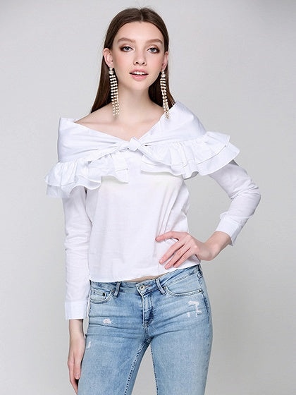 b77d82a9c1 White Bow Tie Ruffle Detail Long Sleeve Blouse