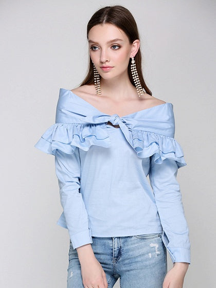 Blue Bow Tie Ruffle Detail Long Sleeve Blouse