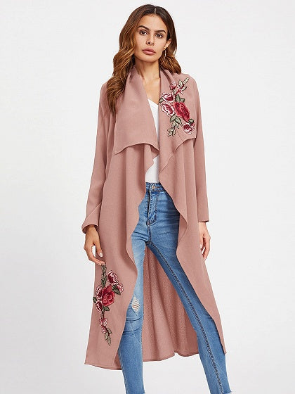 Pink Embroidery Tie Waist Longline Trench Coat