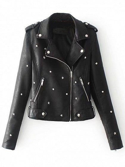Black Stud Detail Leather Look Biker Jacket