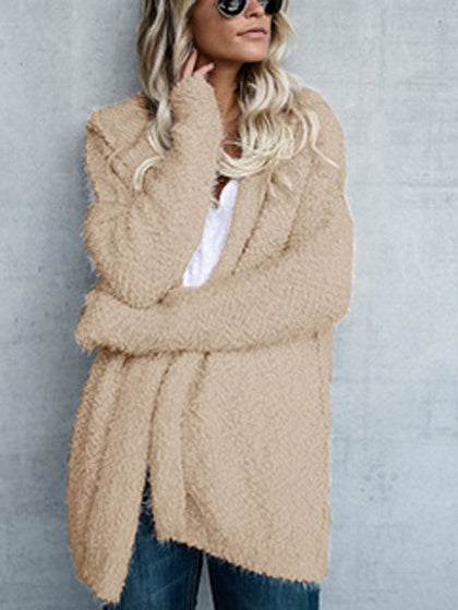 Khaki Long Sleeve Hooded Coat