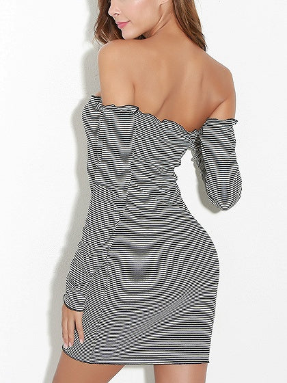 Monochrome Stripe Off Shoulder Ruffle Trim Bodycon Mini Dress