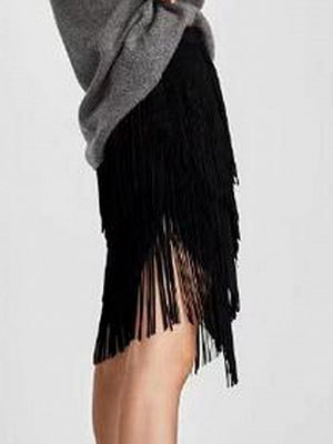 Black Faux Suede Tassel Detail Asymmetric Hem Skirt
