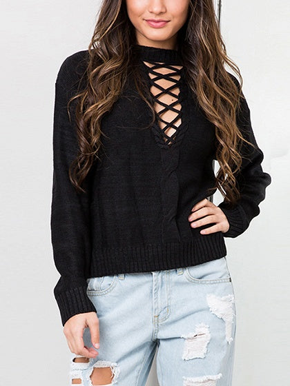 Black V-neck Lace Up Long Sleeve Knit Sweater