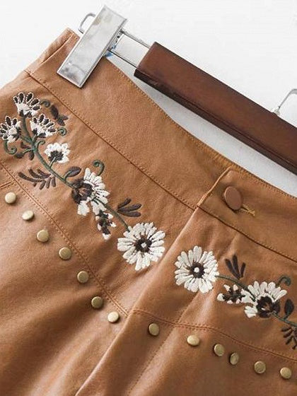 Dark Khaki High Waist Embroidery Floral Leather Look Mini Skirt