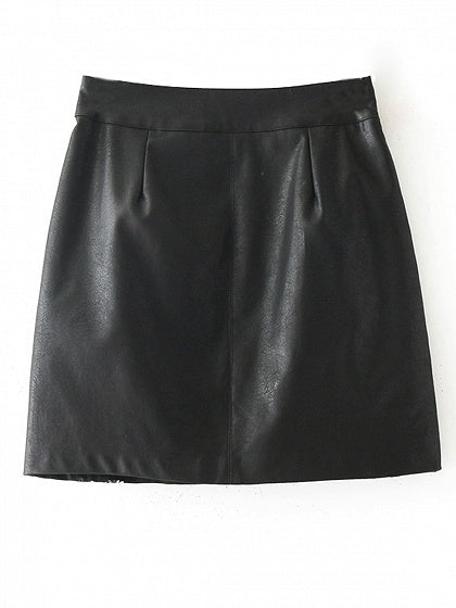 Black High Waist Embroidery Floral Leather Look Mini Skirt