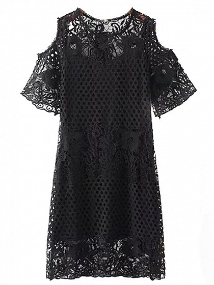 Black Cold Shoulder Cut Out Detail Lace Dress