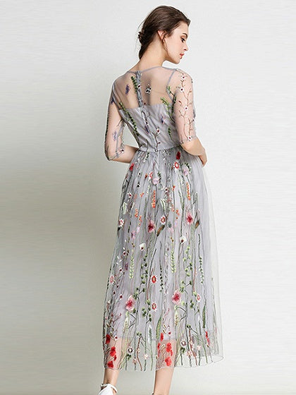 Gray Embroidery Floral Sheer Mesh Midi Dress