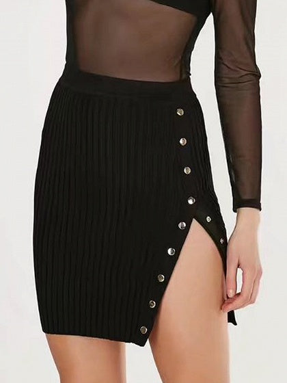 Black High Waist Button Side Rib Knit Bodycon Mini Skirt