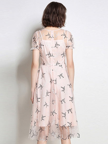 Pink Embroidery Detail Lining Mesh Dress