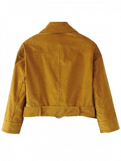 Dark Khaki Pointed Collar Corduroy Jacket