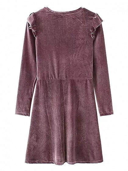 Purple Velvet Ruffle Detail Long Sleeve Mini Dress