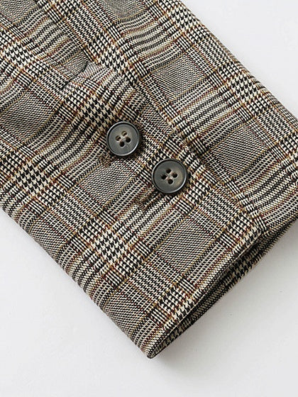 Khaki Plaid Lapel Double-breasted Long Sleeve Blazer
