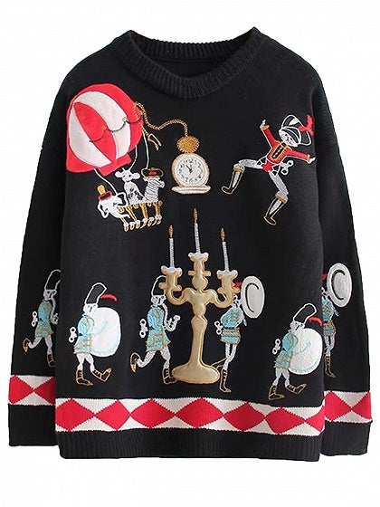 Black Embroidery Cartoon Detail Long Sleeve Knit Sweater