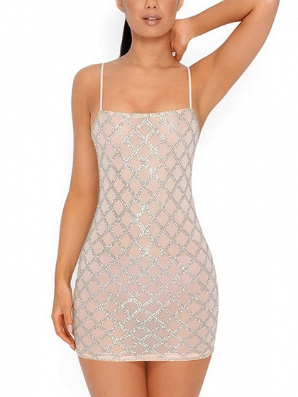 Beige Spaghetti Strap Sequin Detail Bodycon Mini Dress