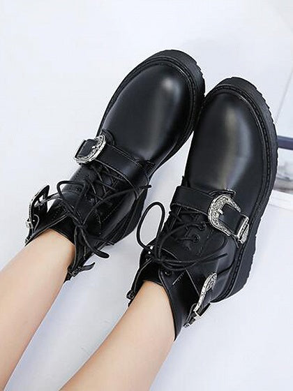 Black Buckle Strap Lace Up PU Boots