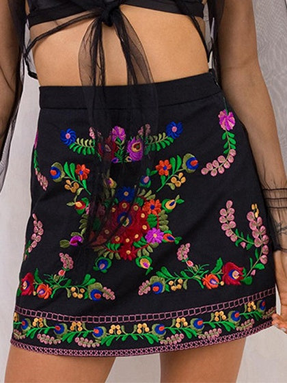 Black High Waist Embroidery Floral A-line Mini Skirt