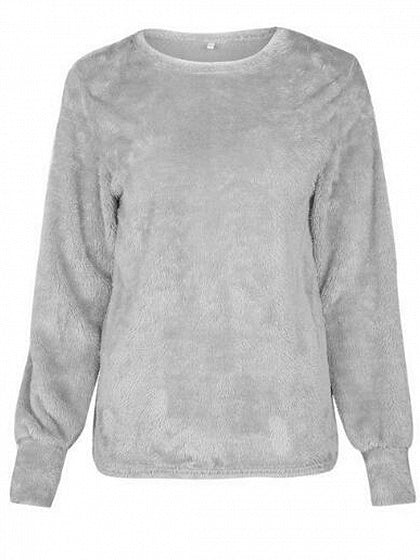 Gray Faux Fur Long Sleeve Sweatshirt