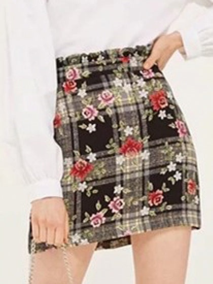 Black Plaid High Waist Floral Print Mini Skirt