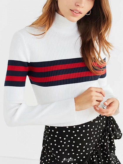 Color Block Stripe High Neck Long Sleeve Knit Jumper
