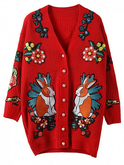 Red Embroidery Button Placket Long Sleeve Cardigan