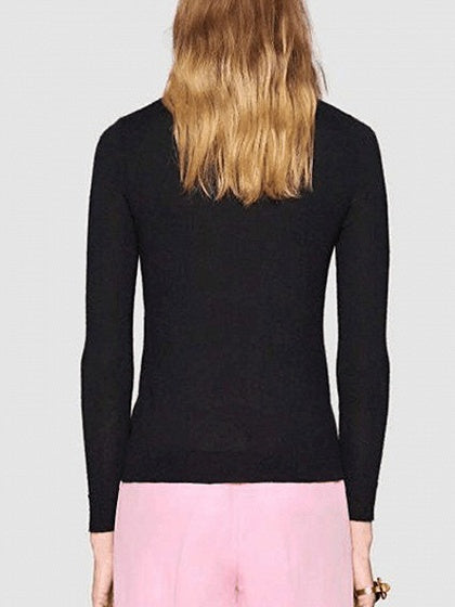 Black Contrast Sequin Detail Long Sleeve Knit Jumper