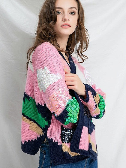 Pink Sequin Detail Open Front Long Sleeve Cardigan