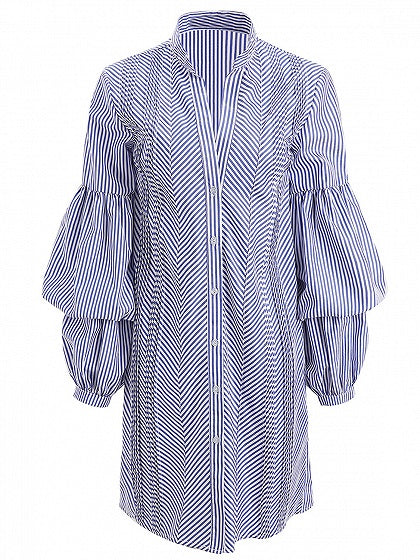 Blue Stripe Ruched Detail Puff Sleeve Shirt