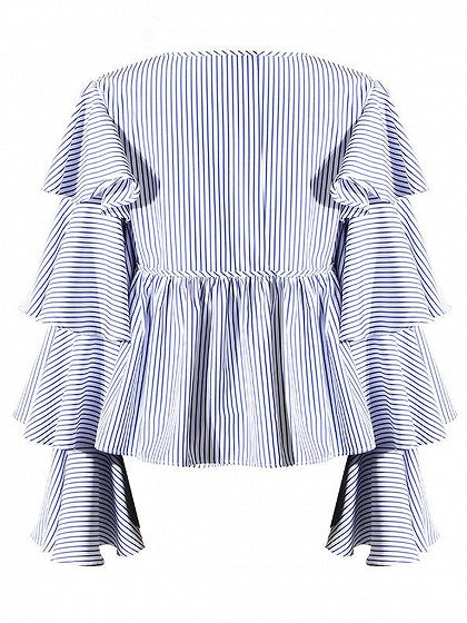 Blue Stripe Bow Tie Front Layered Flare Sleeve Shirt
