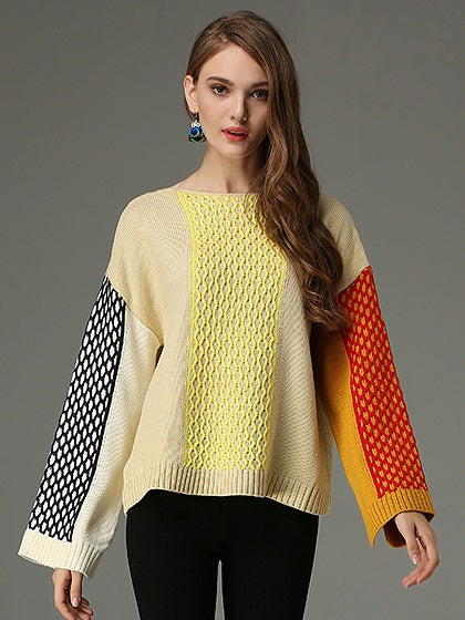 Color Block Split Detail Long Sleeve Knit Sweater
