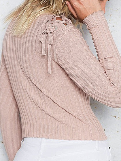 Pink Lace Up Detail Long Sleeve Rib Knit Sweater