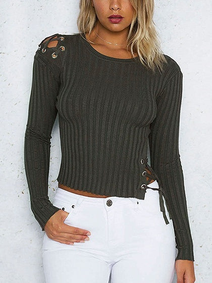 Green Lace Up Detail Long Sleeve Rib Knit Sweater