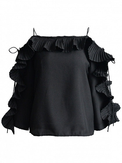 Black Lace Up Sleeve Ruffle Detail Blouse