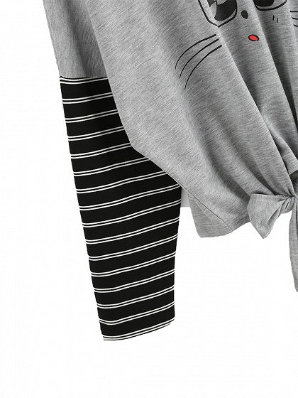Gray Contrast Stripe Knot Front Print Long Sleeve T-shirt