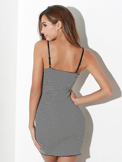 Monochrome Stripe Spaghetti Strap Ruffle Trim Bodycon Mini Dress