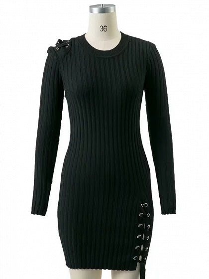 Black Lace Up Detail Long Sleeve Knit Bodycon Mini Dress