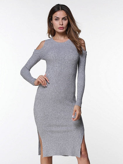 Gray Cold Shoulder Split Side Long Sleeve Knit Dress