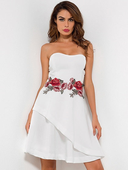 White Bandeau Embroidery Floral Dress