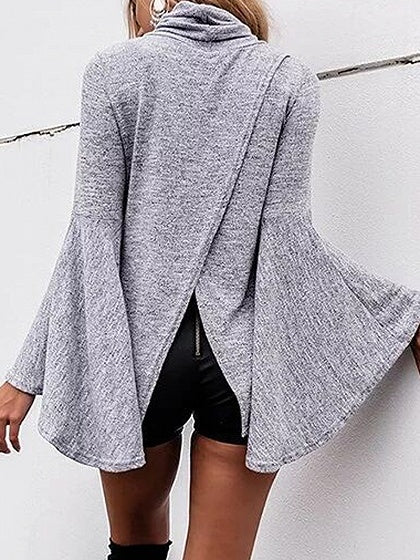 Gray High Neck Split Back Flare Sleeve Blouse