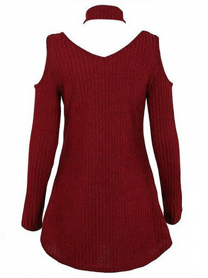 Burgundy Choker Neck Plunge Cold Shoulder Long Sleeve Mini Dress
