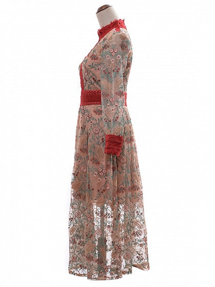 Polychrome Embroidery Lace Panel Puff Sleeve Mesh Maxi Dress