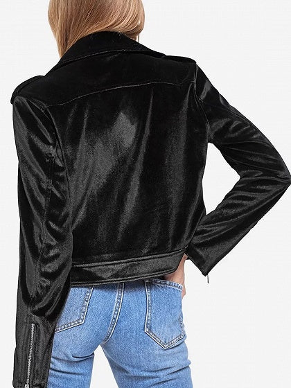 Black Velvet Lapel Zip Detail Biker Jacket
